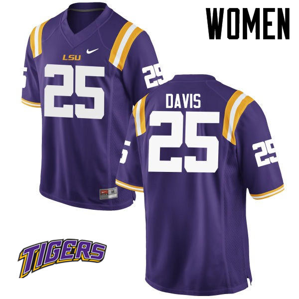 Women's #25 Drake Davis LSU Tigers College Football Jerseys-Purple